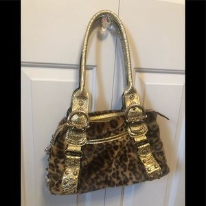 Gold and leopard Print Purse